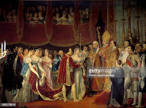 The marriage of Napoleon I and Archduchess Marie Louise de HabsburgLorraine in the Salon Carre at the Louvre on 2 April 1810 Painting by Georges...
