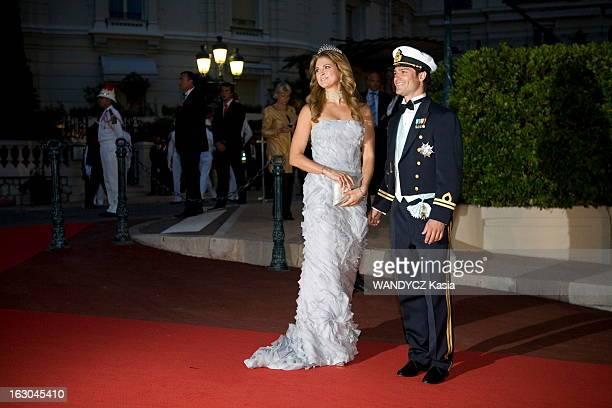 The Marriage Of Prince Albert With Charlene Wittstock Monaco 2 juillet 2011 Le dîner arrivée du prince Carl Philip de Suède et sa soeur la princesse...