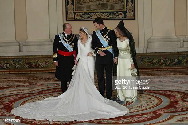 The Marriage Of Prince Felipe Of Spain Le mariage du prince FELIPE et de Letizia ORTIZ le jeune marié aux côtés de son épouse en robe signée Pertegaz...