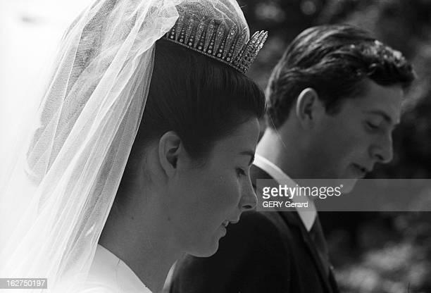 The Marriage Of Prince Hans-Adam Of Liechtenstein With Mary Kinsky Von Wchinitz Und Tettau. Vaduz - 30 juillet 1967 - Lors de leur mariage la...