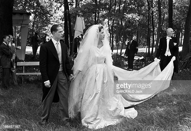 The Marriage Of Prince Henri De France And Duchess MarieTherese Of Wurtemberg France 5 juillet 1957 Le Mariage de son altesse royale le Prince HENRI...