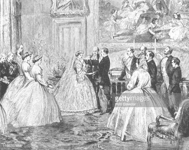 The Marriage of Princess Alice with Prince Louis of Hesse in the DiningRoom of Osborne House July 1 1862' Alice daughter of Queen Victoria married...