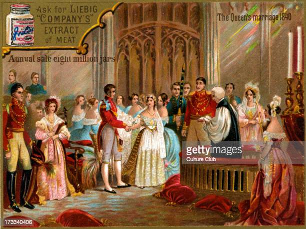 The marriage of Queen Victoria to Prince Albert Caption reads 'The Queen's marriage 1840' Liebig card series
