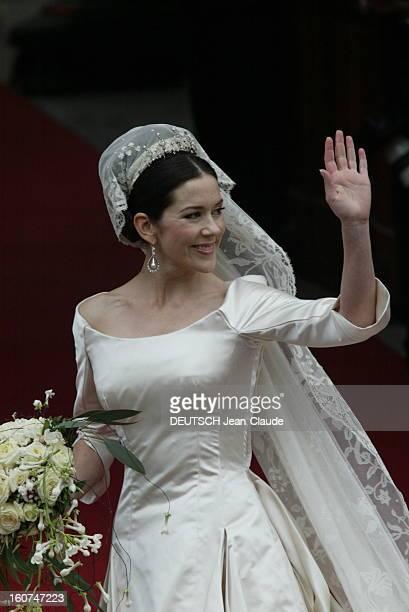 The Marriage Of The Prince Frederik Of Denmark Le mariage du prince FREDERIK DE DANEMARK avec l''australienne Mary DONALDSON à COPENHAGUE la mariée...