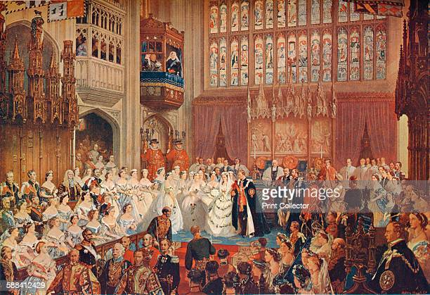 The Marriage of the Prince of Wales, 1863 . The wedding of the future King Edward VII and Princess Alexandra of Denmark in St George's Chapel,...