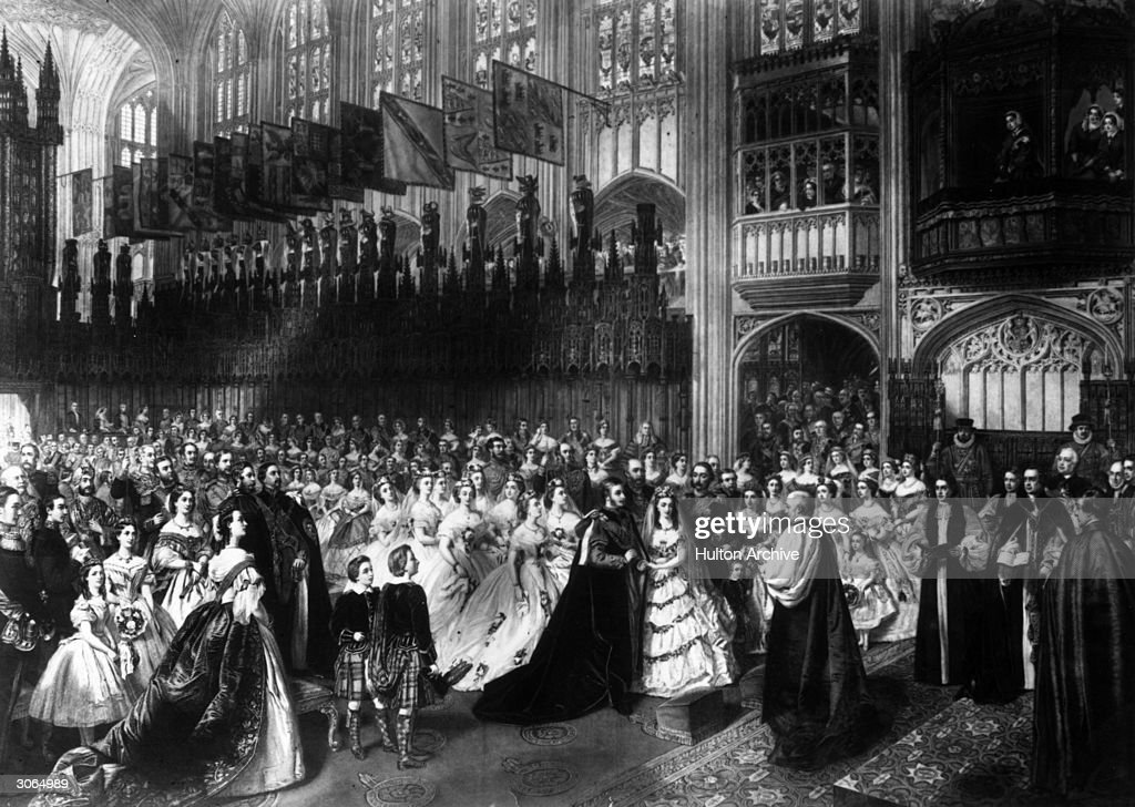 The marriage of the Prince of Wales, later King Edward VII of Great Britain and Princess Alexandra of Denmark in the Royal Chapel at Windsor.