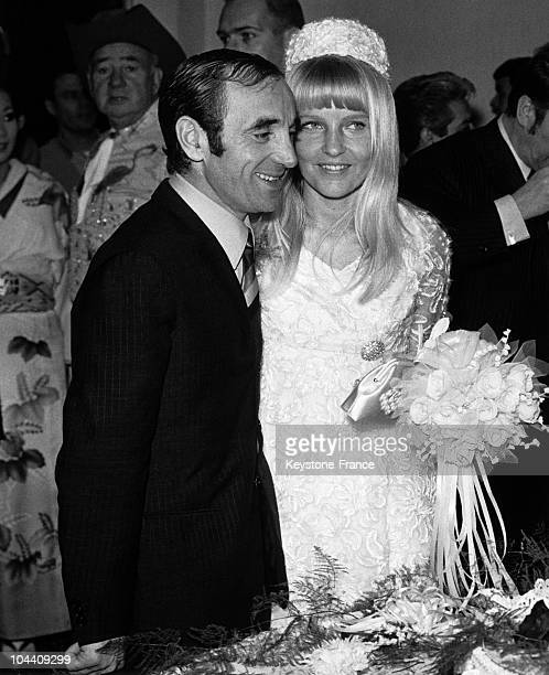 The marriage of the singer Charles AZNAVOUR and the Swedish Ulla THORSSELL at Flamingo Hotel Las Vegas