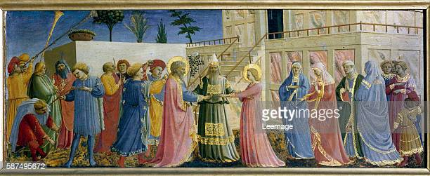 The Marriage of the Virgin, by Guido da Pietro a.k.a Fra Angelico or il Beato . Tempera on wood, 19x51 cm, c.1435. Museo di San Marco, Florence, Italy