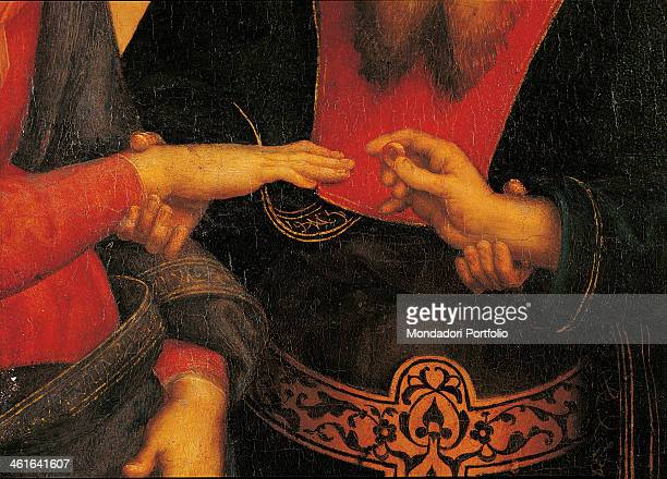 The Marriage of the Virgin, by Raffaello Sanzio 16th century, oil on board, 174 x 121 cm. Italy, Lombardy, Milan, Brera Collection. Detail. The hands...
