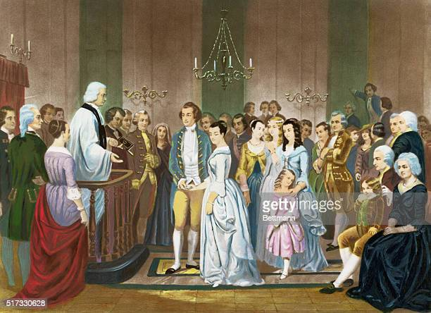 The marriage of Washington to Martha Custis 1758 After painting by Stearns