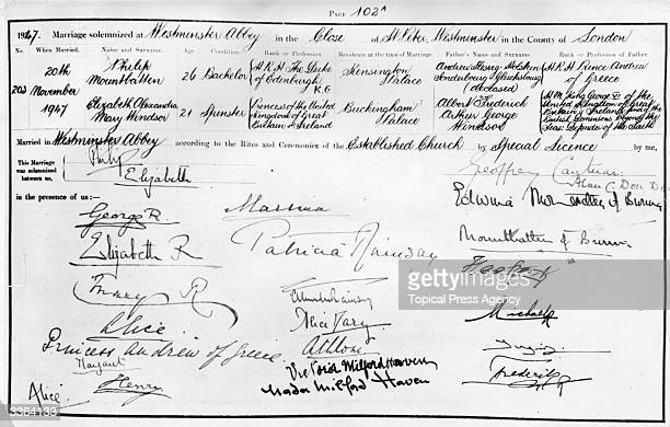 The marriage register of Princess Elizabeth and Lieutenant Philip Mountbatten bearing the signatures of Philip and Elizabeth the King and Queen and...