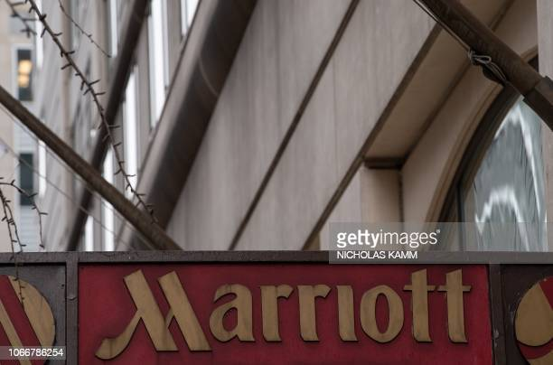 The Marriott logo is seen in Washington DC on November 30 2018 after Marriott International announced that up to 500 million hotel guests may have...