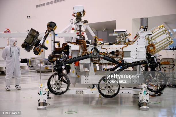 The Mars 2020 Rover is seen in the spacecraft assembly area clean room December 27 2019 during a media tour at NASA's Jet Propulsion Laboratory in...