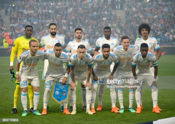 The Marseille team pose for a team group before the UEFA Europa League Final between Olympique de Marseille and Club Atletico de Madrid at Stade de...