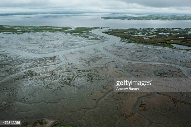 The marshy tundra landscape surrounding Newtok is seen from a plane on July 6 2015 outside Newtok Alaska Newtok which has a population of...