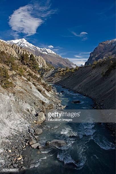The Marsyandi River Near Humde On The Around Annapurna Trek Annapurna Conservation Area Nepal