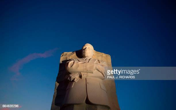 The Martin Luther King Jr Memorial is seen at sunset April 4 2017 / AFP PHOTO / Paul J Richards