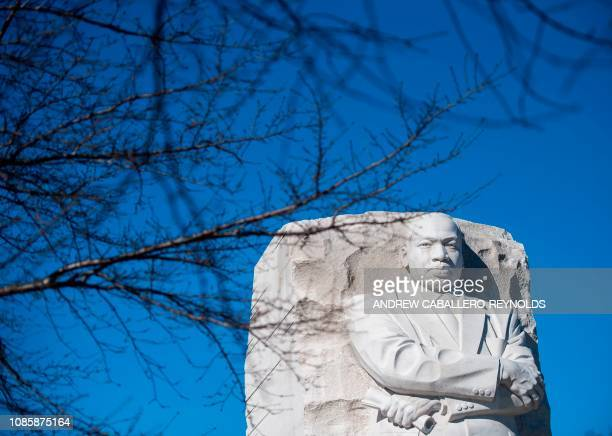 The Martin Luther King Jr Memorial is seen in Washington DC on Martin Luther King Day on January 21 2019