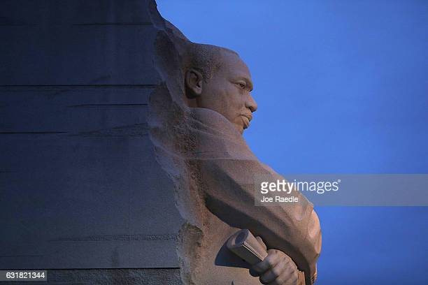 The Martin Luther King Jr memorial is seen on the day that honors him on January 16 2017 in Washington DC Martin Luther King day is a national...
