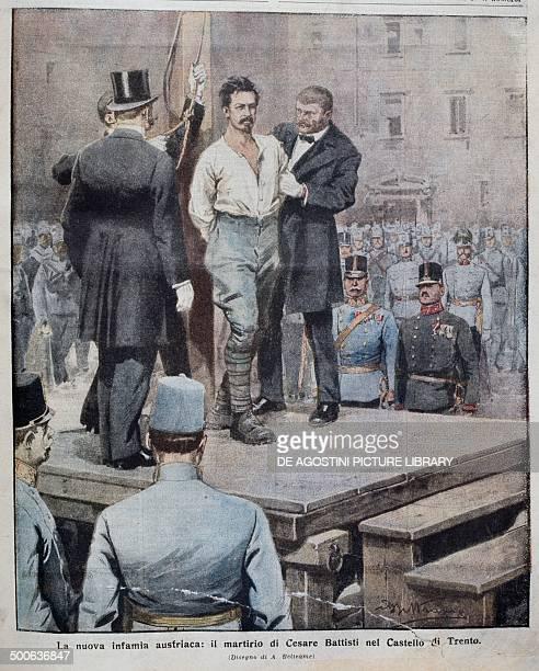 The martyrdom of Cesare Battisti July 12 illustration by Achille Beltrame from La Domenica del Corriere July 30 1916