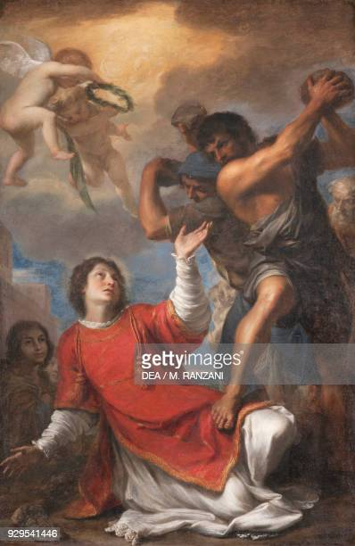 The martyrdom of St Stephen canvas by Luigi Primo Convent of the Capuchin Fathers Pesaro Marche Italy