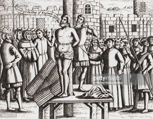 The martyrdom of William Tyndale at Vilvoorde Castle Brussels in 1536 William Tyndale also spelled Tynsdale Tindall Tindill Tyndall c1494–1536...