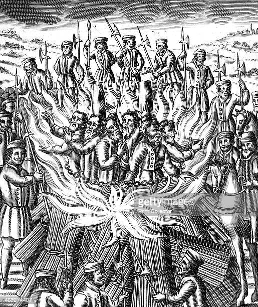 'The Martyrdome of Six Men at Brainford' 1558 An illustration from John Foxe's Book of Martyrs' depicting the burning of six Protestants during the...
