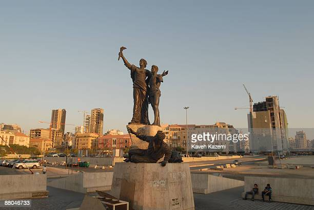 The Martyrs' statue in Martyrs' Square in downtown Beirut Lebanon 6th August 2008 The statue commemorates Lebanese nationalists who were executed by...