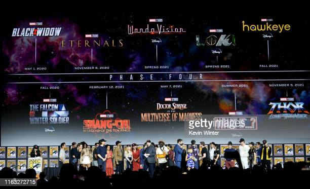 The Marvel Cinematic Universe Phase Four is announced with cast members during the Marvel Studios Panel during 2019 Comic-Con International at San...