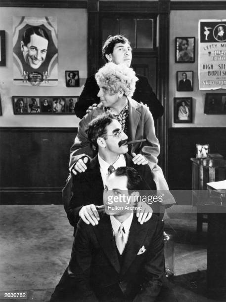 The Marx Brothers a group of comic film actors consisting of Groucho Chico Harpo and Zeppo