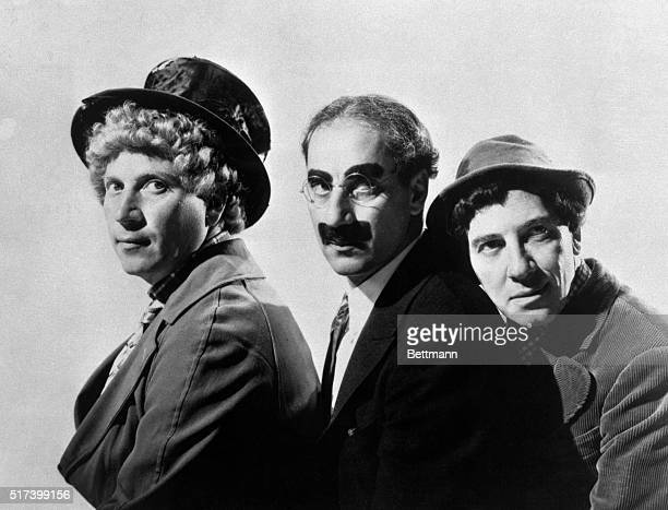 The Marx Brothers Harpo, Groucho and Chico in a publicity still from 1937.