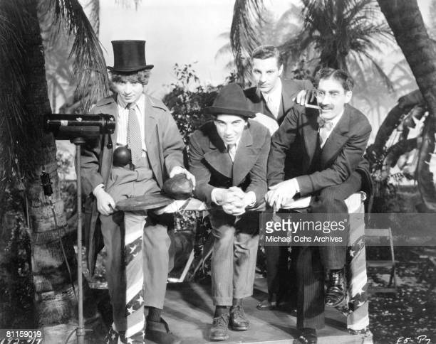 The Marx Brothers LR Harpo Marx Chico Marx Zeppo Marx and Groucho Marx in a scene from Paramount Picture's 'Horse Feathers' in 1932 in Los Angeles...