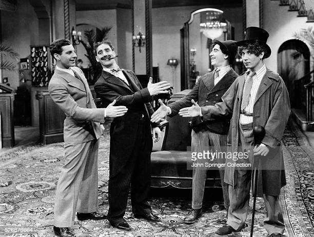 Zeppo Groucho Chico and Harpo fool around on the set of their 1929 comedy The Cocoanuts