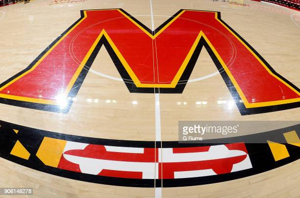 The Maryland logo on the court of the Xfinity Center during the game between the Maryland Terrapins and the Purdue Boilermakers on December 1 2017 in...