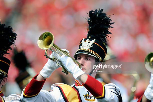 The Maryland marching band performs during the game between the Maryland Terrapins and the William Mary Tribe at Byrd Stadium on September 1 2012 in...