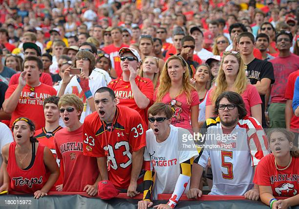 The Maryland student section is shown during the Maryland Terrapins defeat of the Old Dominion Monarchs 47 10 in football at Byrd Stadium in College...