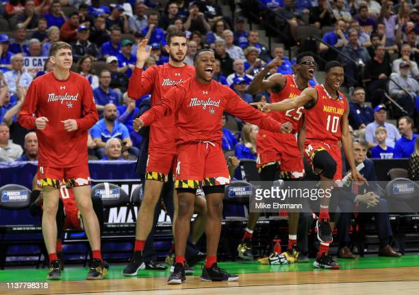 The Maryland Terrapins bench celebrates as they take on the LSU Tigers during the second half of the game in the second round of the 2019 NCAA Men's...