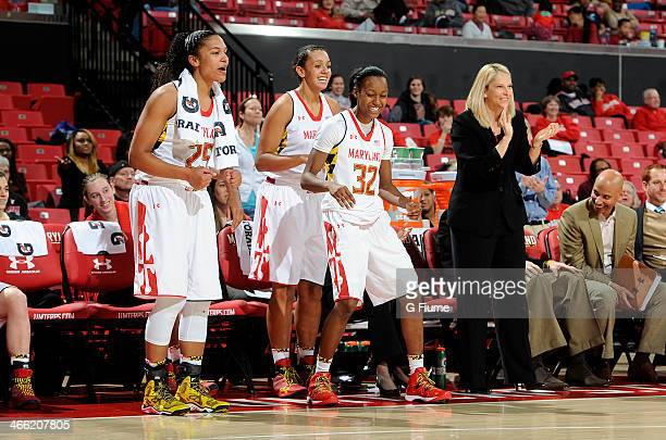 The Maryland Terrapins celebrate during the game against the Delaware State Hornets at the Comcast Center on December 14 2013 in College Park Maryland