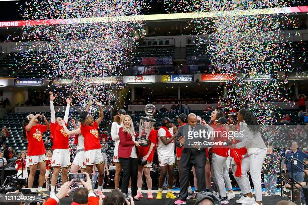 The Maryland Terrapins celebrate winning the Big Ten Women's Championship Game over the Ohio State Buckeyes at Bankers Life Fieldhouse on March 08,...