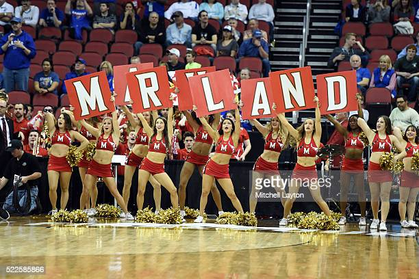 The Maryland Terrapins cheerleaders cheer during the third round of the 2016 NCAA Men's Basketball Tournament against the Kansas Jayhawks at the KFC...