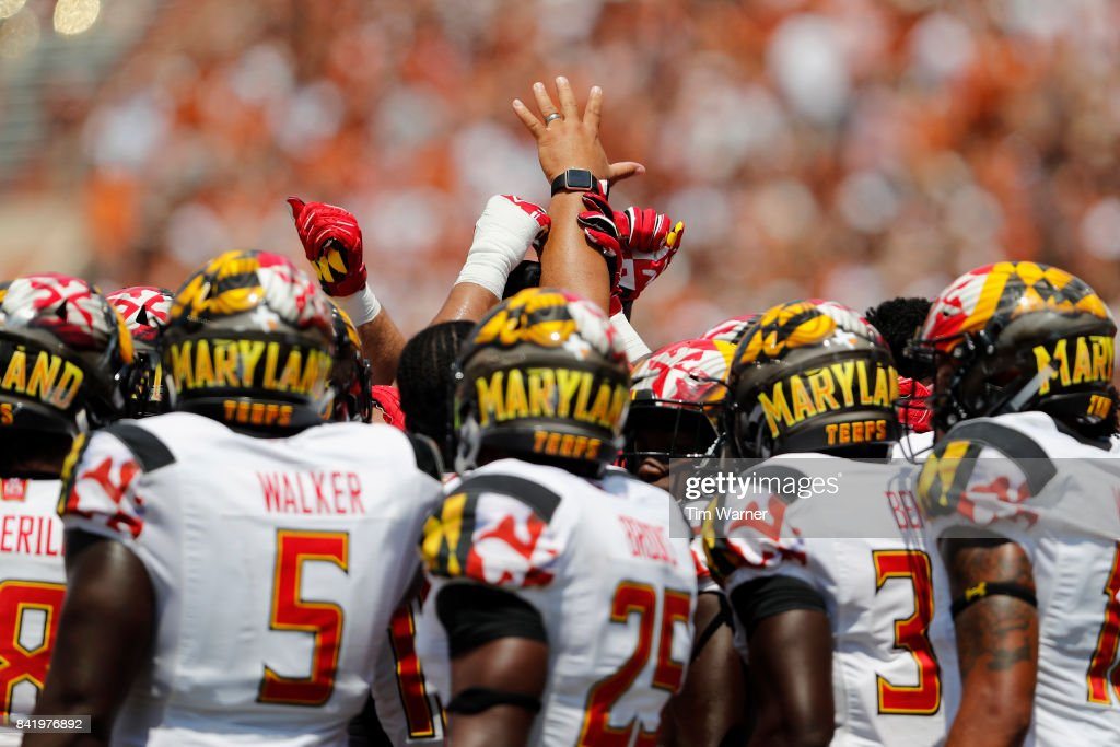 The Maryland Terrapins defensive unit huddles after Antwaine Richardson #20 of the Maryland Terrapins was injured in the third quarter against the Texas Longhorns at Darrell K Royal-Texas Memorial Stadium on September 2, 2017 in Austin, Texas.