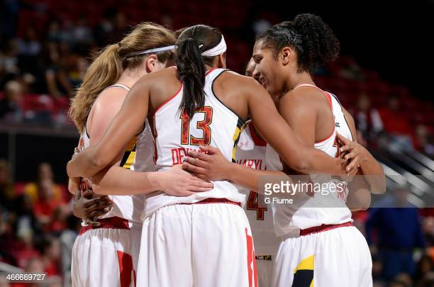 The Maryland Terrapins huddle up during the game against the Georgia Tech Yellow Jackets at the Comcast Center on January 19 2014 in College Park...