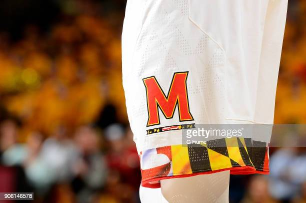 The Maryland Terrapins logo on the uniform during the game against the Purdue Boilermakers at Xfinity Center on December 1 2017 in College Park...