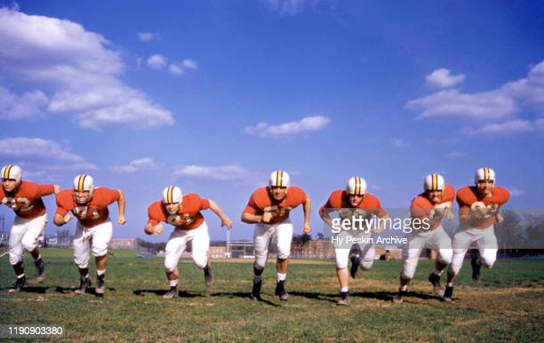 The Maryland Terrapins offensive line end Jim Parsons tackle Mike Sandusky guard Ron Athey center Bob Pellegrini guard Gene Dyson tackle Al Wharton...