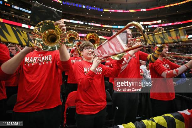 The Maryland Terrapins pep band performs during a break between the Terrapins and the Nebraska Cornhuskers at the United Center on March 14 2019 in...