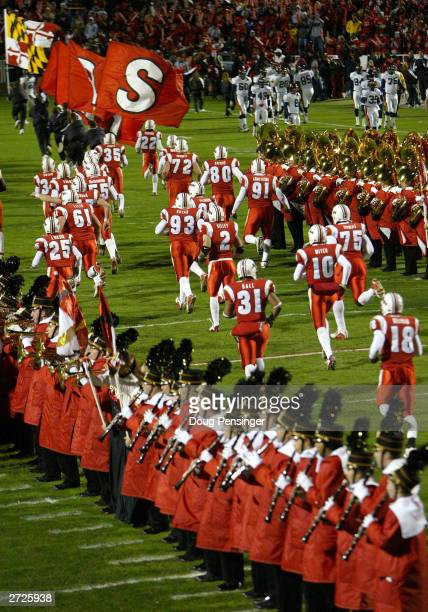 The Maryland Terrapins take to the field prior to the game as they host the Virginia Cavaliers during NCAA football action on November 13 2003 at...