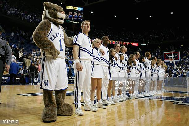 The mascot and cheerleaders of the Kentucky Wildcats stand at center court before the game against the Kansas Jayhawks on January 9 2005 at Rupp...