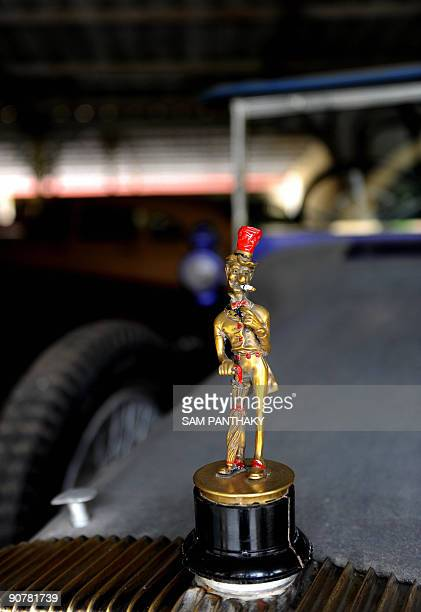The mascot atop the radiator of a Daimler car of 1911 which once belonged to the Maharaja of Jamnagar at 'Auto World' car museum in Kathwada some...