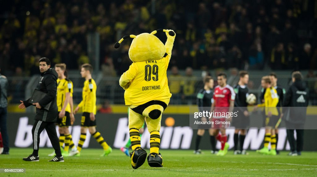 The Mascot Emma Of Borussia Dortmund Celebrates The Win After The News Photo Getty Images