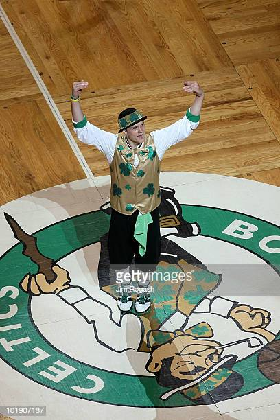 The mascot for the Boston Celtics fires up the crowd in Game Three of the 2010 NBA Finals against the Los Angeles Lakers on June 8 2010 at TD Garden...
